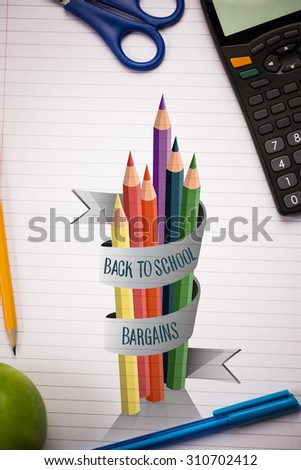 back to school message against students table with school supplies - stock photo