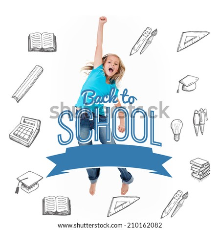 Back to school message with icons against excited little girl jumping - stock photo