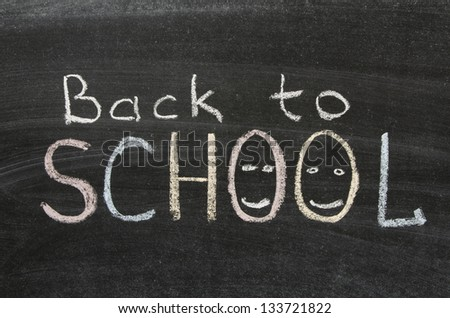back to school phrase handwritten on blackboard