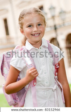 Back to school - pupil going to the school - stock photo
