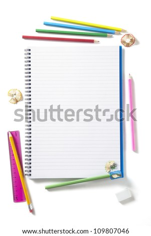 Back to School pupils art pencils and pad on white school desk from above - stock photo