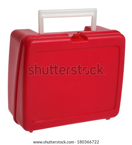 Back to School red lunchbox - stock photo