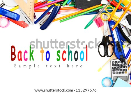Back to school. School accessories . - stock photo