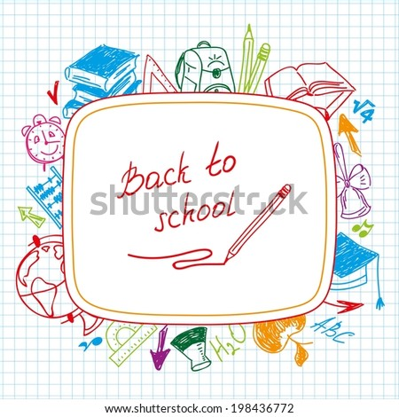 Back to school, school background of school supplies color illustrations