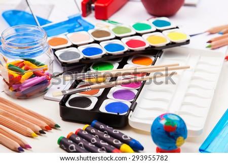 Back to school - school supplies - stock photo