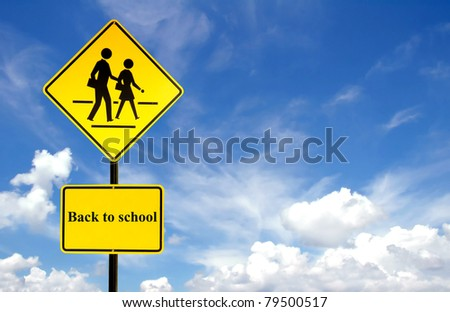 back to school sign and blue sky - stock photo