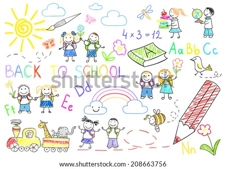 Back to school. Sketch on notebook page - stock photo