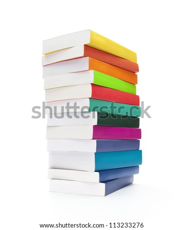Back to school, stack of blank colorful books isolated on white background - stock photo