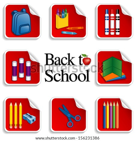 Back to School Stickers. Apple for the teacher, backpack, glue sticks, folders, colored pencils, sharpener, markers, crayons, scissors, text. For preschool, daycare, arts, crafts, literacy projects.