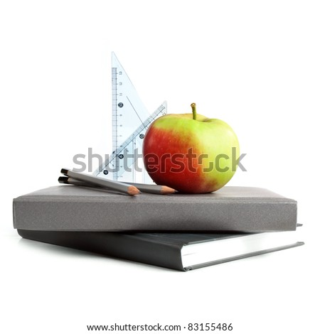 Back to school- still life on white background. - stock photo