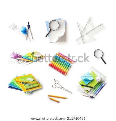 Back to school supplies collection. Isolated on white background - stock photo