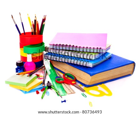 Back to school supplies. Isolated. - stock photo