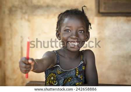 Back To School Symbol - African Girl Toothy Huge Smile Showing Red Pencil - stock photo