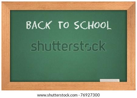 Back to school text white on blackboard - stock photo