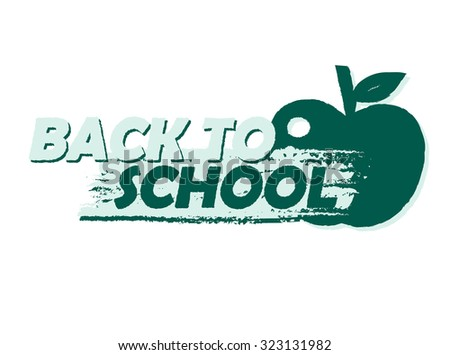 back to school text with apple symbol, education concept, drawn banner - stock photo