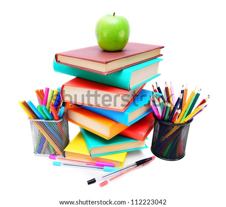 Back to school. To study. On white background. - stock photo