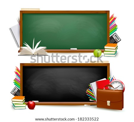 Back to school.Two banners with school supplies. Raster version. - stock photo