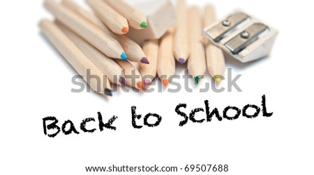 Back to school with Color pencils, rubber and sharpener - stock photo