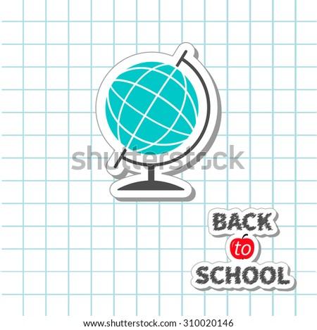 Back to school World globe on paper sheet background Exercise book. Flat design  - stock photo
