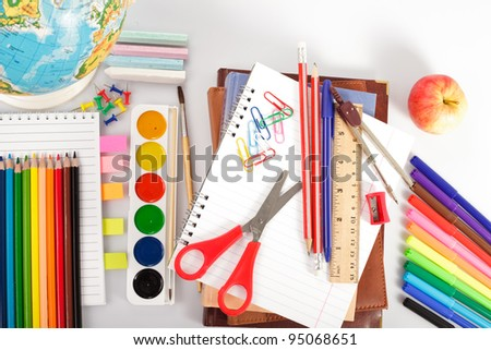 Back to shcool concept for drawing and painting - stock photo