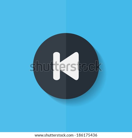 Back track web icon.Media player. Flat design. - stock photo