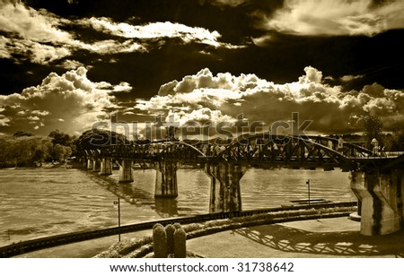 Back up onto the past intestine bridge the kwai on a river - stock photo
