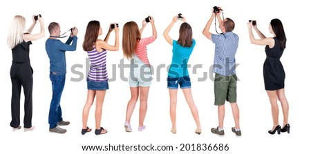 Back view group of people photographed attractions. Rear view team people collection.  backside view of person.  Isolated over white background. - stock photo