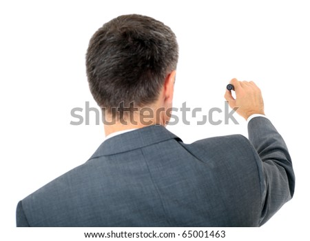 Back view of a businessman using marker. All on white background. - stock photo