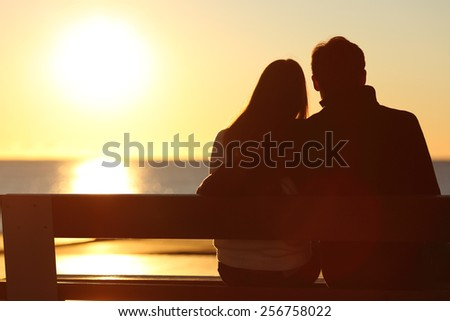 Back view of a couple silhouette hugging and watching sun on the beach  - stock photo