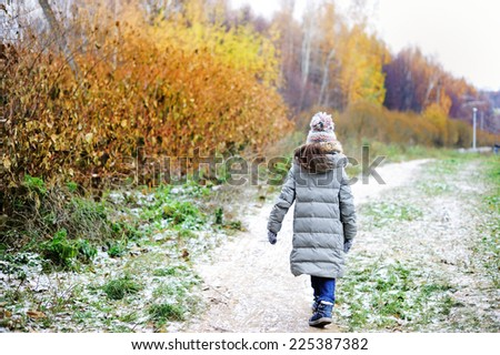 Back view of adorable girl in grey hat, scarf and coat  outdoor in winter park - stock photo