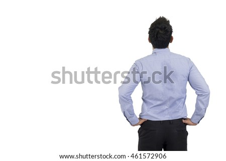 Back view of asian businessman isolated on white background with clipping path. Business concept.