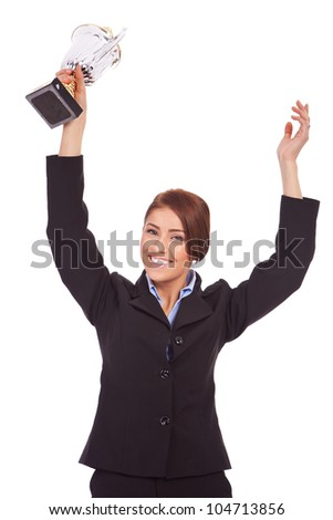Back view of beautiful young business woman holding her hands up. Rear view. Isolated over white backrground - stock photo