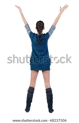 Back view of beautiful young woman with the hands lifted in top. Rear view. Isolated over white background. - stock photo