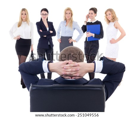 back view of business man choosing new workers isolated on white background - stock photo