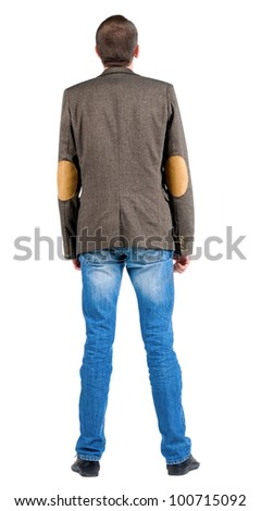 Back view of business man in jacket  looking up.  Standing young guy in jeans and suit jacket. Rear view people collection.  backside view of person.  Isolated over white background. - stock photo