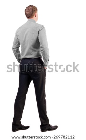 back view of business man  in red shirt looks ahead. Young businessman watching.   Rear view people collection.  backside view of person.  Isolated over white background. - stock photo