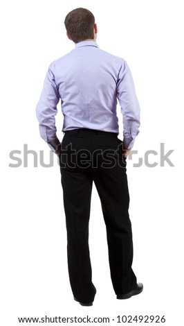 back view of Business man  looks on wall.  Young guy in shirt watching.  Rear view people collection.  backside view of person.  Isolated over white background. - stock photo