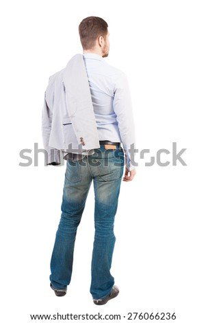 back view of Business man  looks.  Rear view people collection.  backside view of person.  Isolated over white background. - stock photo