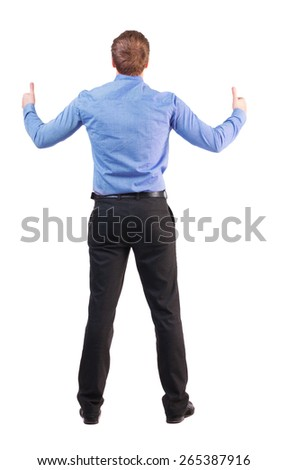 Back view of  business man shows thumbs up.   Rear view people collection. cheerful office worker shows positive emotions.  backside view of person.  Isolated over white background.  - stock photo