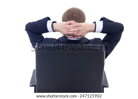 back view of business man sitting on office chair isolated on white background - stock photo