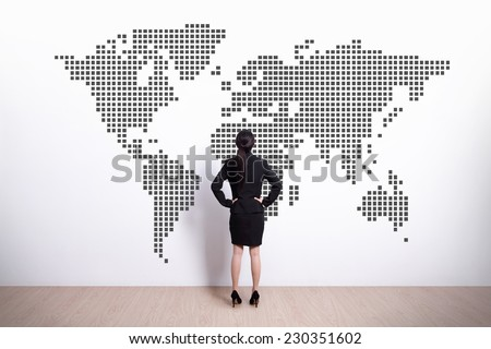 Back view of business woman look world map, asian - stock photo
