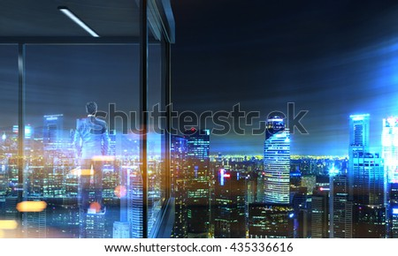 Back view of businessman on panoramic balcony with illuminated Singapore city view at night. 3D Rendering