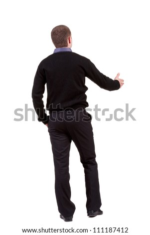 back view of businessman  reaches out to shake hands. Rear view people collection. backside view of person. Isolated over white background. - stock photo