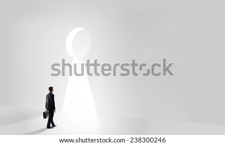 Back view of businessman standing in keyhole doorway - stock photo