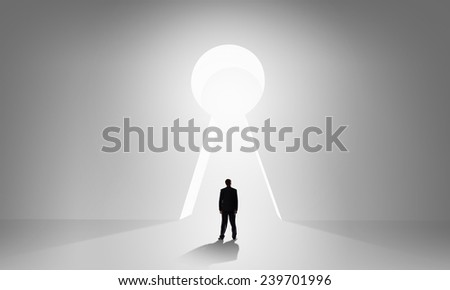 Back view of businessman standing in keyhole doorway & Back View Businessman Standing Keyhole Doorway Stock Photo ... pezcame.com