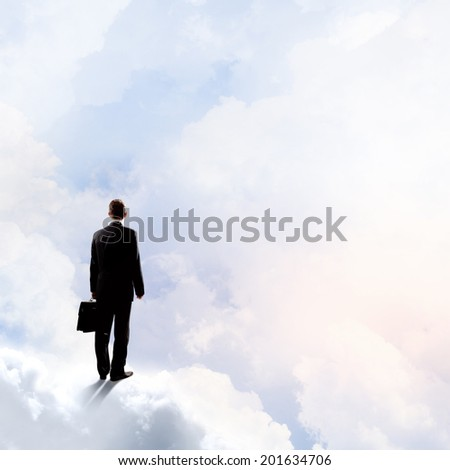Back view of businessman standing on cloud high in sky - stock photo