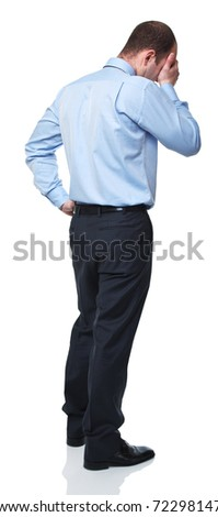 back view of caucasian man standing on white background - stock photo