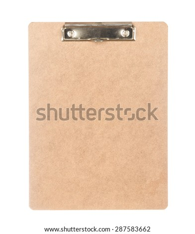 Back view of clipboard isolated on white background
