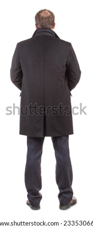Back view of coat on man. Isolated on a white background.