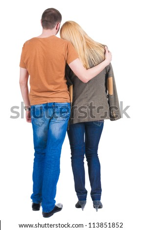Back view of embrace of a young couple. beautiful friendly girl and guy together. Rear view people collection.  backside view of person.  Isolated over white background.